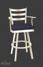 Callee Claremont Swivel Stool with Arms in Arctic Cream finish and Blue fabric