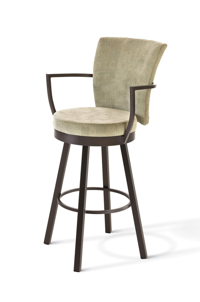 Amisco Cardin Upholstered Swivel Stool W Back And Arms