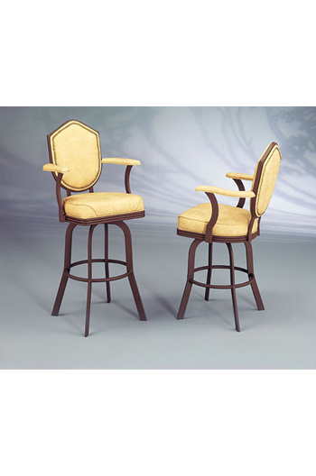 2027 Formal Swivel Bar Or Counter Stool W Arms Shield