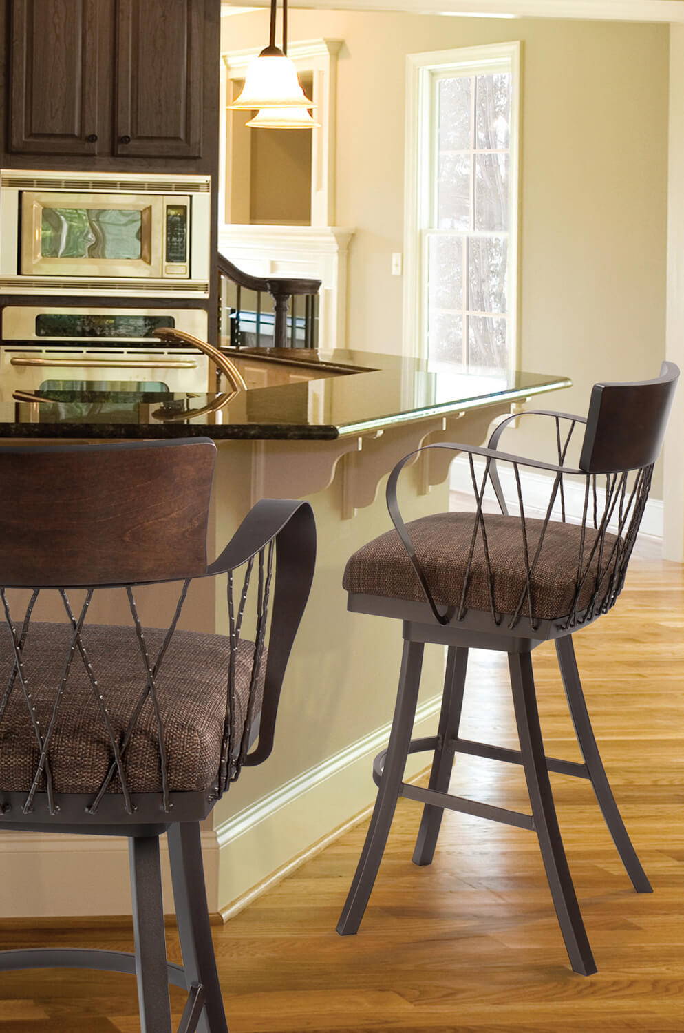 Buy Trica S Bambusa Wide Swivel Bar Stool W Arms Free Shipping