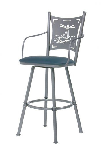Trica Creation Swivel Stool W Arms Laser Cut Back Free