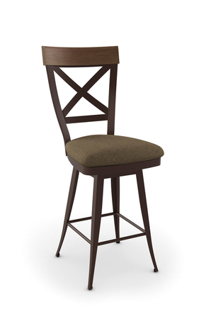 Amisco Kyle Swivel Stool W Seat Cushion And Tall Back