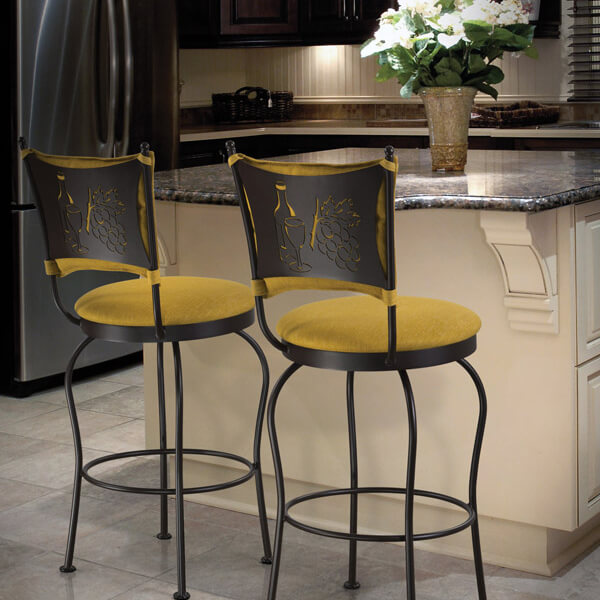 Dark Kitchen with Bright Stools