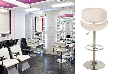 Chrome swivel bar stools for salons
