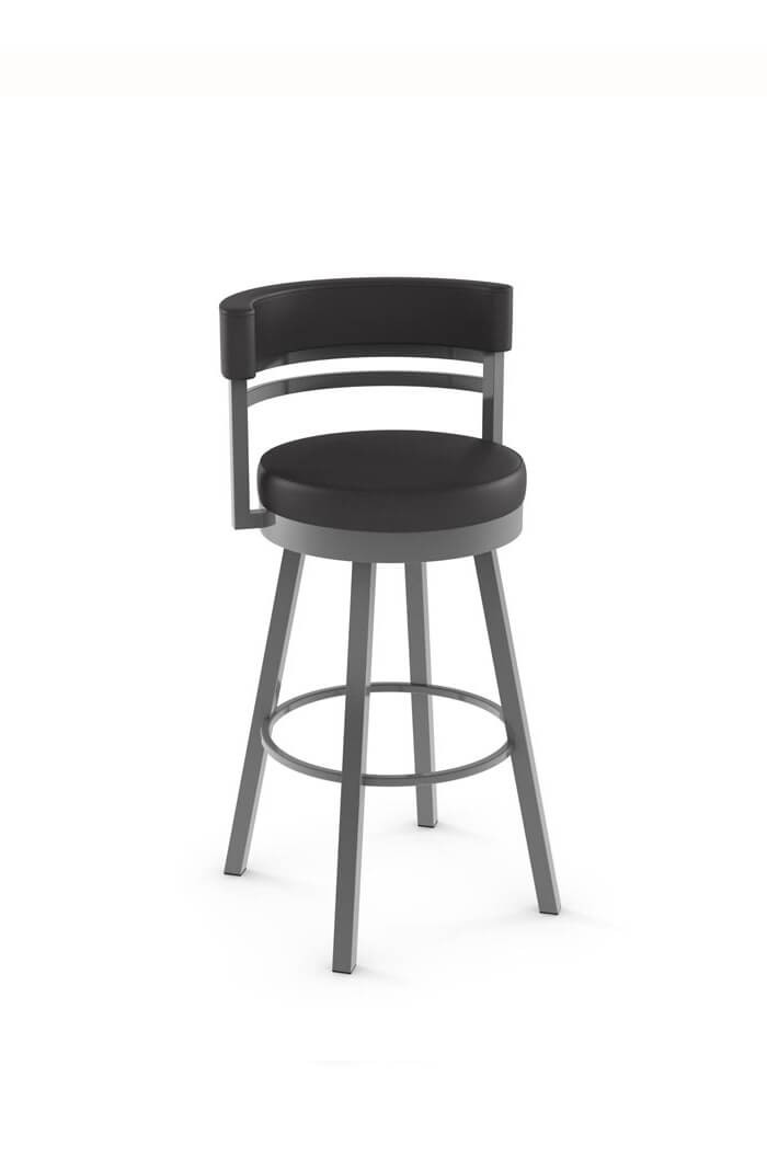 ... Ronny Swivel Stool with Short Back in Black Fabric ...  sc 1 st  Barstool Comforts & Amisco Ronny Swivel Stool - Free Shipping! u2022 Barstool Comforts islam-shia.org