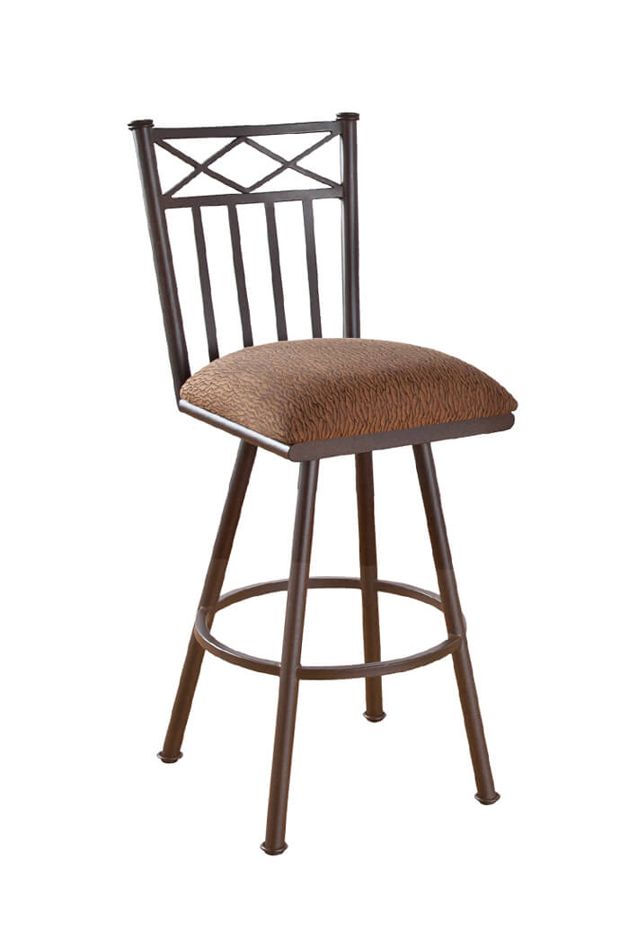 amisco • cardin upholstered swivel stool w back and arms ships free