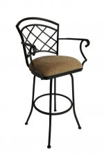Callee Baldwin Swivel Bar Stool with Arms and Lattice Back