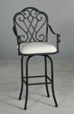 Dallas Swivel Stool with Arms and Decorative Metal Scroll Back by Wesley Allen