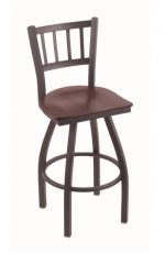 Holland's #810 Contessa Swivel Bar Stool in Pewter metal finish and Dark Cherry Oak wood seat