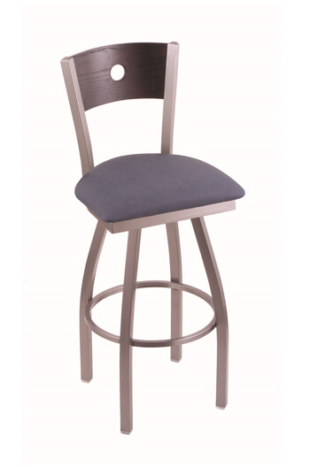 Holland Voltaire Swivel Stool with Wood Back