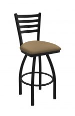 Holland's Jackie #410 Swivel Bar Stool with Back in Black Wrinkle Metal Finish and Brown Seat Cushion