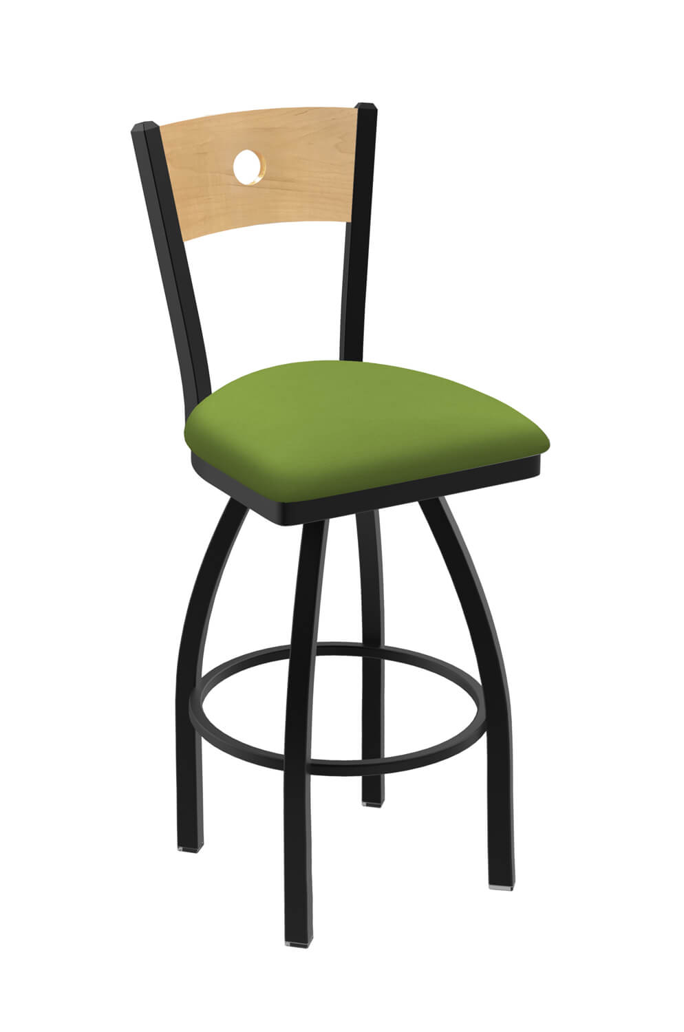 Holland S Voltaire Metal Swivel Stool With Wood Back