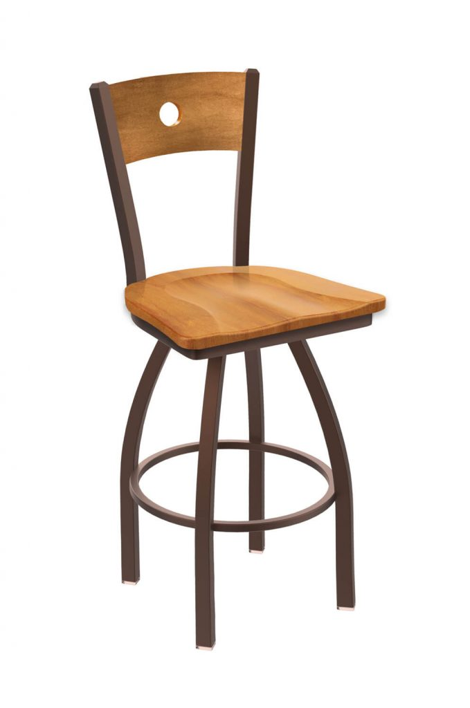 Holland's Voltaire #830 Swivel Barstool in Bronze Metal Finish and Medium Maple Seat and Back Wood Finish