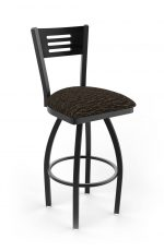 Holland's Voltaire Black Swivel Bar Stool with Three Slats Wood Back, Metal Frame, and Fabric Cushion