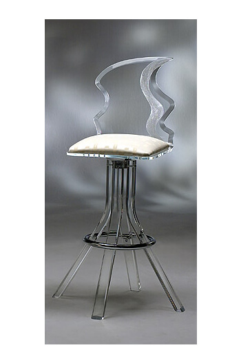 Muniz Plastics Glacier Acrylic Bar Stool with Unique Back