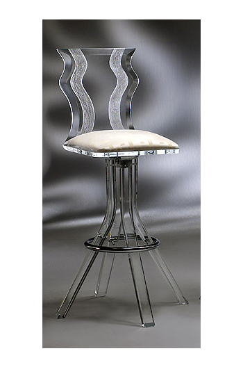 Muniz Wynter Acrylic Swivel Bar Stool W Wave Back Free