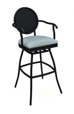 Adelle Outdoor Aluminum Swivel Stool with Arms by Tobias Designs