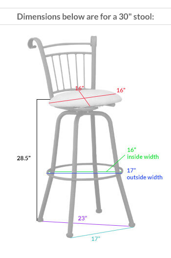 #1030 Swivel Stool Dimensions