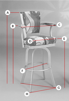 #2010 Swivel Stool Dimensions