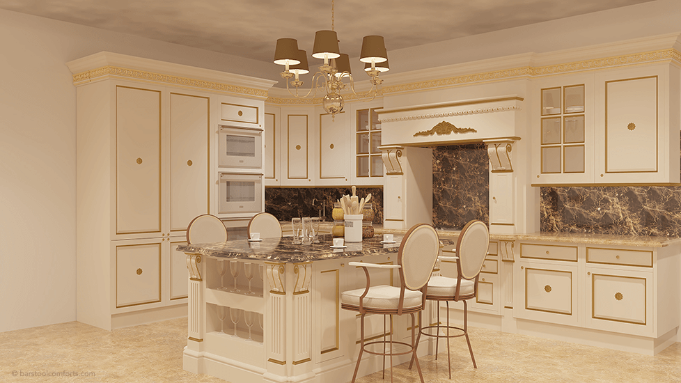 #2020 Classic Swivel Bar Stools with Arms and Nailhead Trim in Large Louis the 14th Style Kitchen