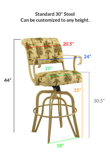 #2535 Tilt Swivel Stool Dimensions