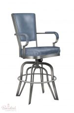 #2545 Tilt Swivel Counter Stool with Arms and Upholstered in Blue
