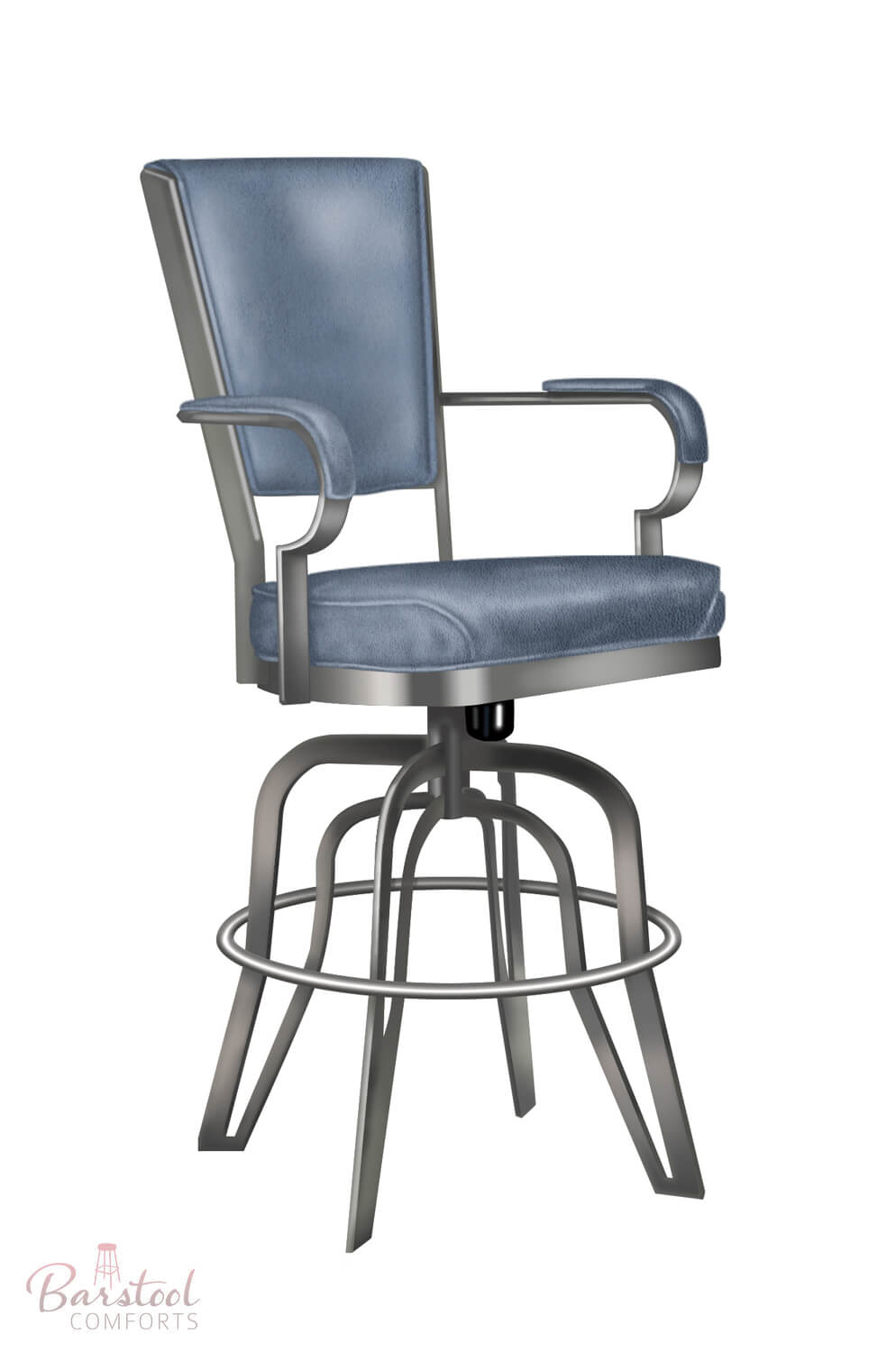 ... Tilt Swivel Counter Stool With Arms And Upholstered In Blue ...