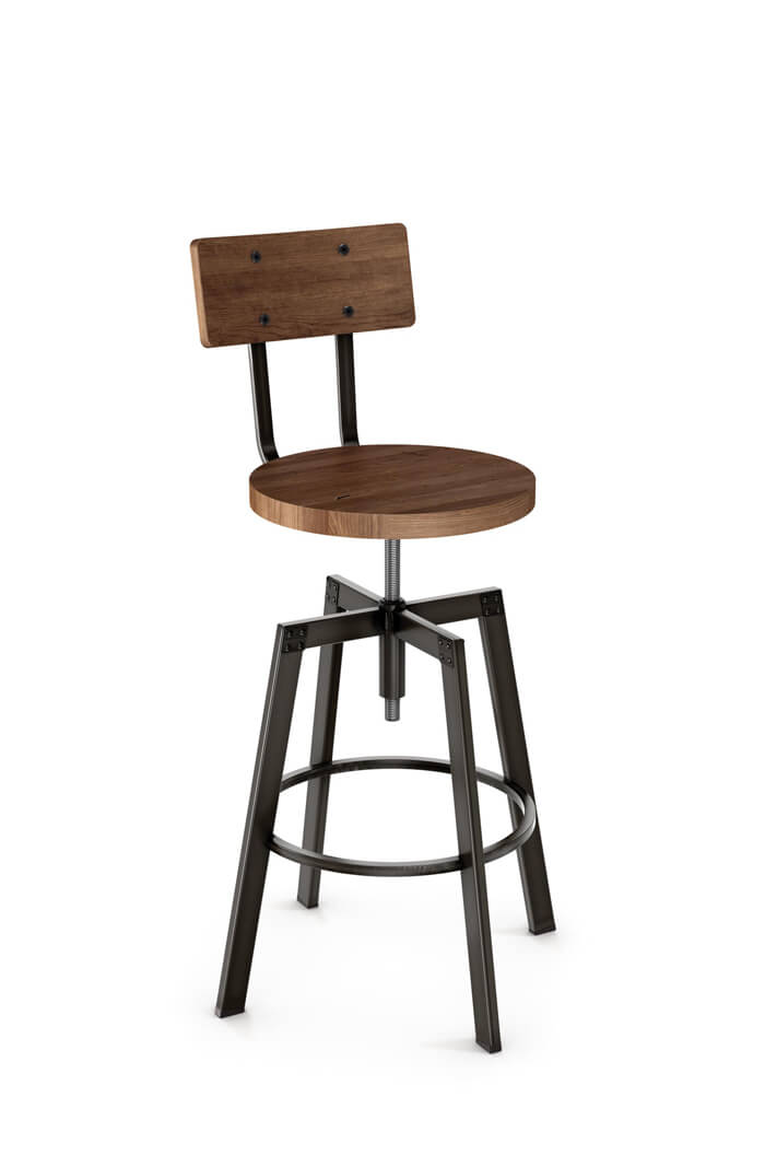 Amisco Architect Swivel Bar Stool In Brown With Distressed Wood Seat And Backrest