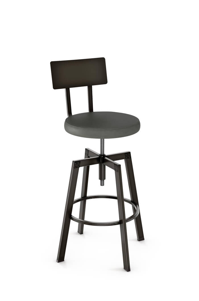 Amisco Architect Screw Stool with Metal Backrest and Fabric Seating
