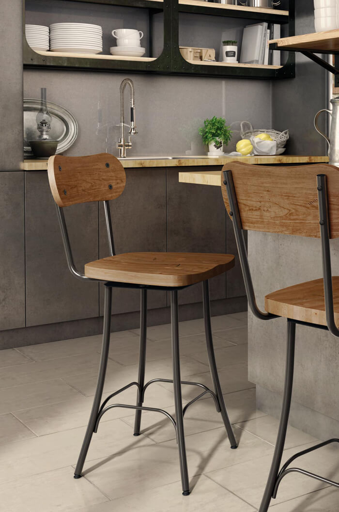 Wood Seat Amisco Bean Swivel Stool In Kitchen