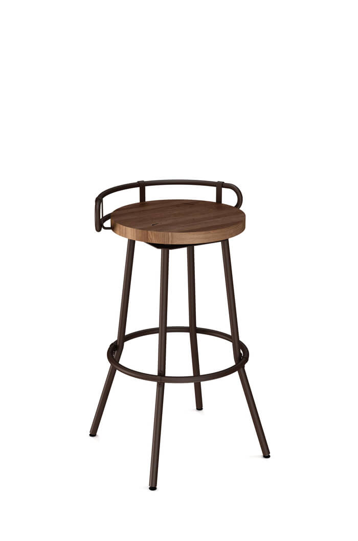 Amisco Bluffton Swivel Stool with Low Back and Wood Seat