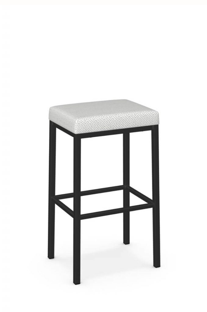 Amisco's Bradley Modern Backless Bar Stool in Black Metal and White Geometric Pattern