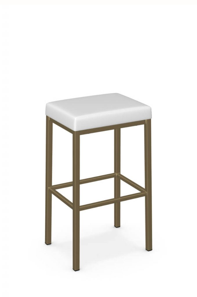 Amisco's Bradley Modern Backless Bar Stool in Gold and White