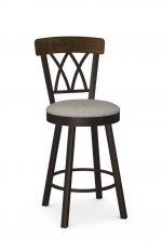 Amisco's Brittany Traditional Swivel Bar Stool with Wood Back and Brown Metal Frame