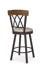 Amisco's Brittany Traditional Swivel Bar Stool with Cross Back Design, Metal Frame, and Seat Cushion - Back View