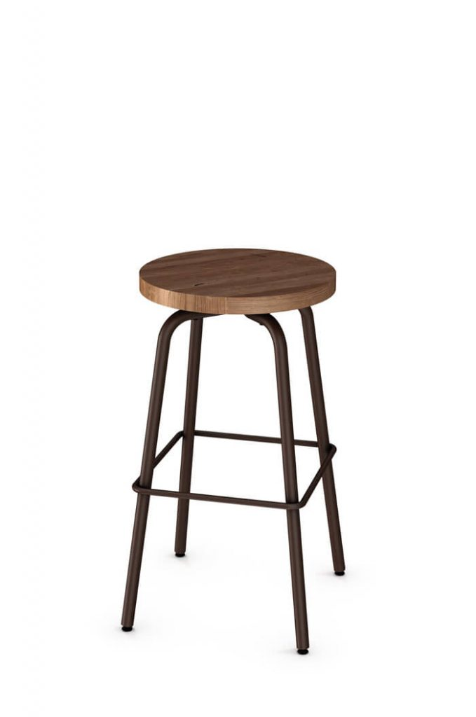 Amisco Button Backless Swivel Stool with Wood Seat