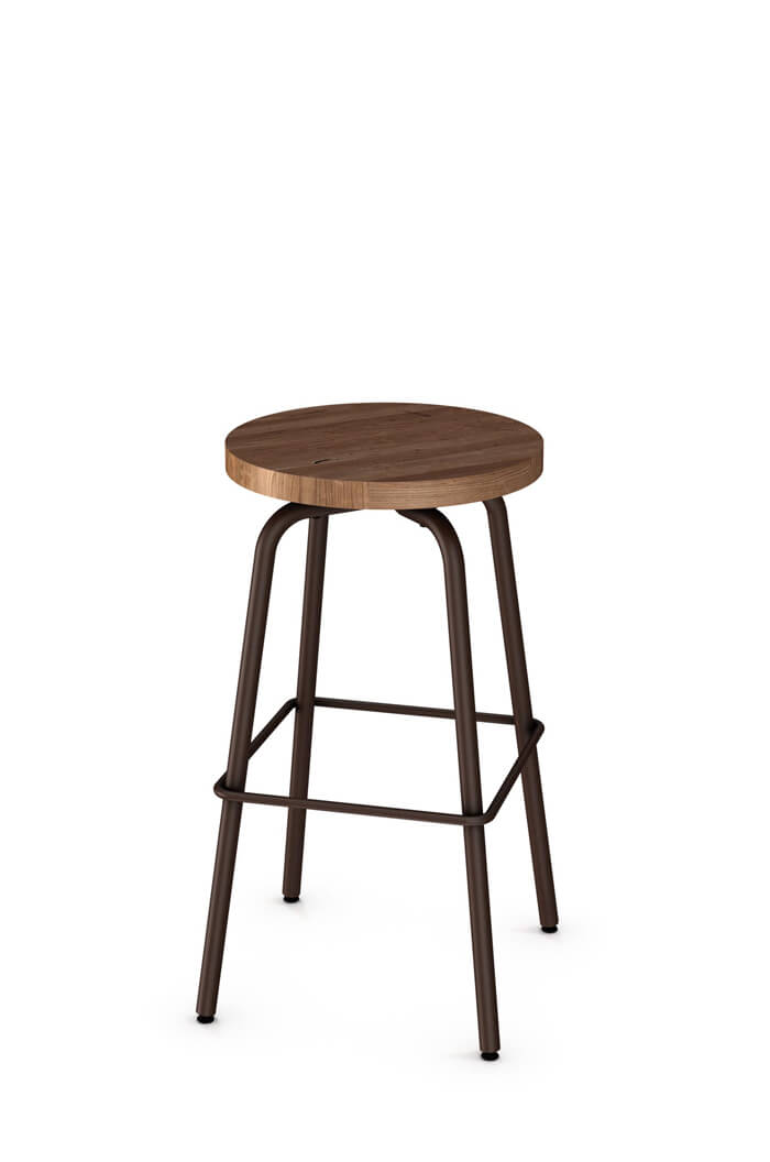 Button Swivel Stool with Wood Seat