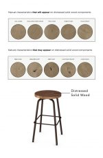 Amisco's Button Backless Stool with Distressed Solid Wood Seat