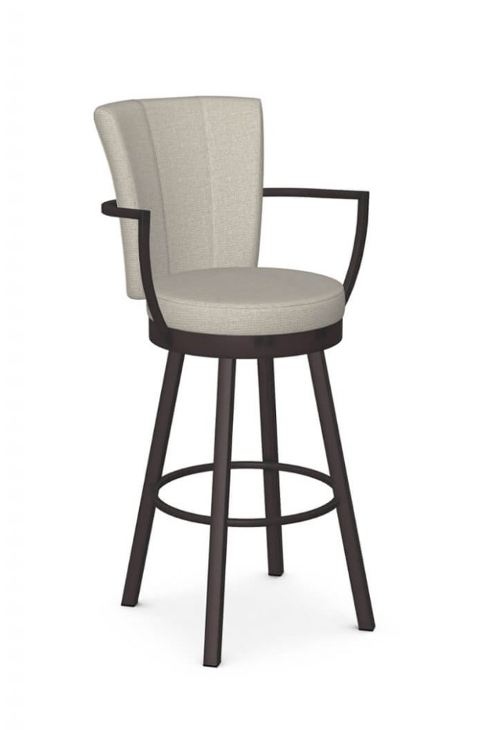 Amisco's Cardin Modern Swivel Bar Stool with Arms in Brown