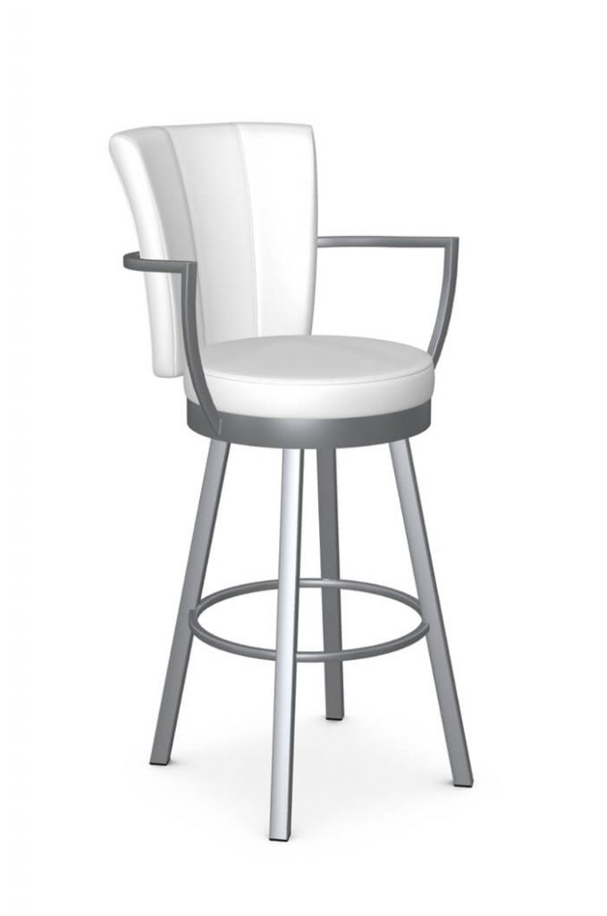 Amisco's Cardin Modern Swivel Kitchen Bar Stool with Arms in Gray and White