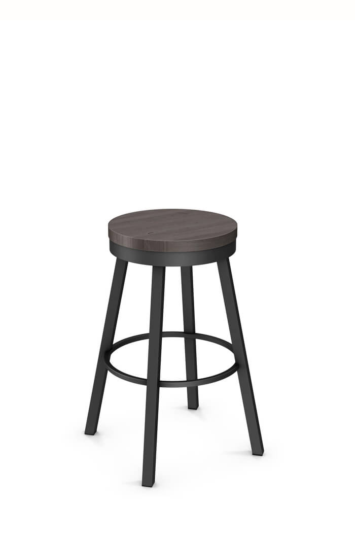 Amisco Connor Swivel Stool with Wood Seat