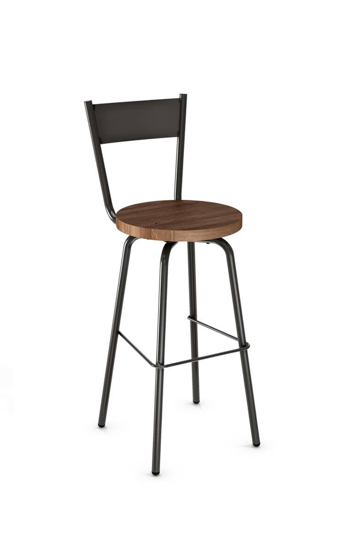 Amisco Crystal Swivel Stool with Wood Seat