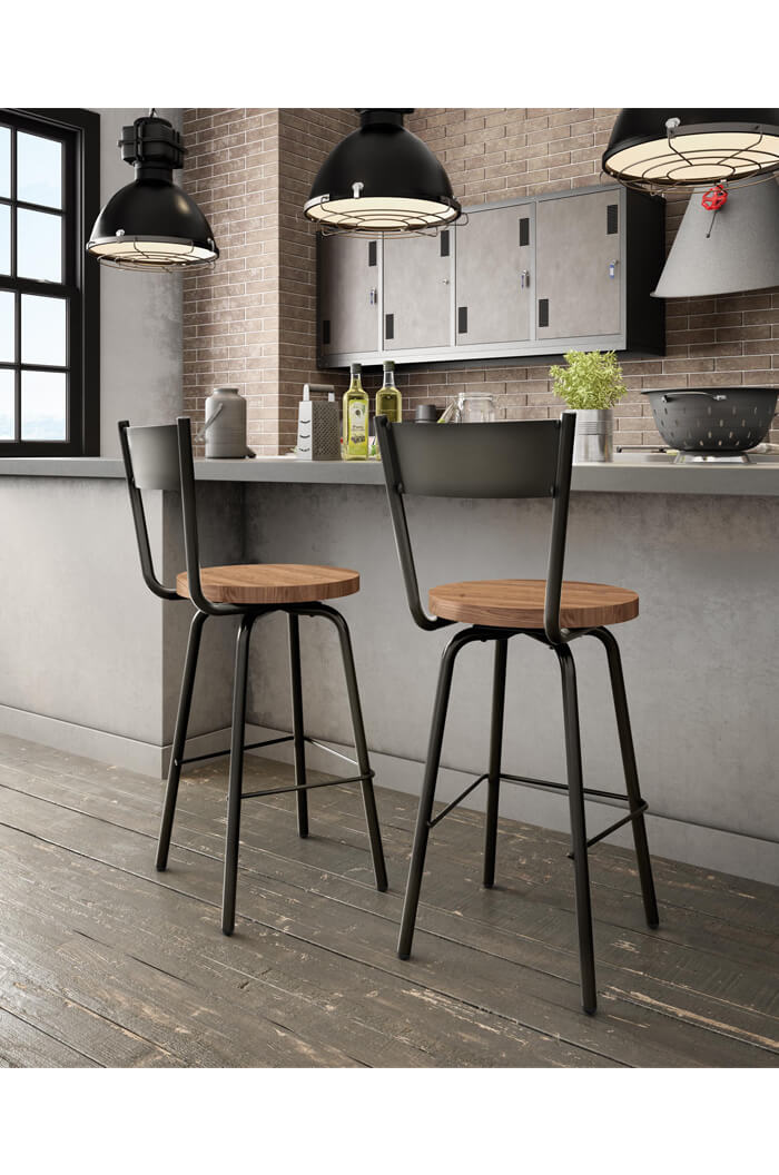 Amisco Crystal Swivel Stool with Wood Seat Amisco Crystal Swivel Stool in Modern Industrial Kitchen  sc 1 st  Barstool Comforts & Amisco Crystal Swivel Stool w/ Wood Seat - Free shipping! islam-shia.org