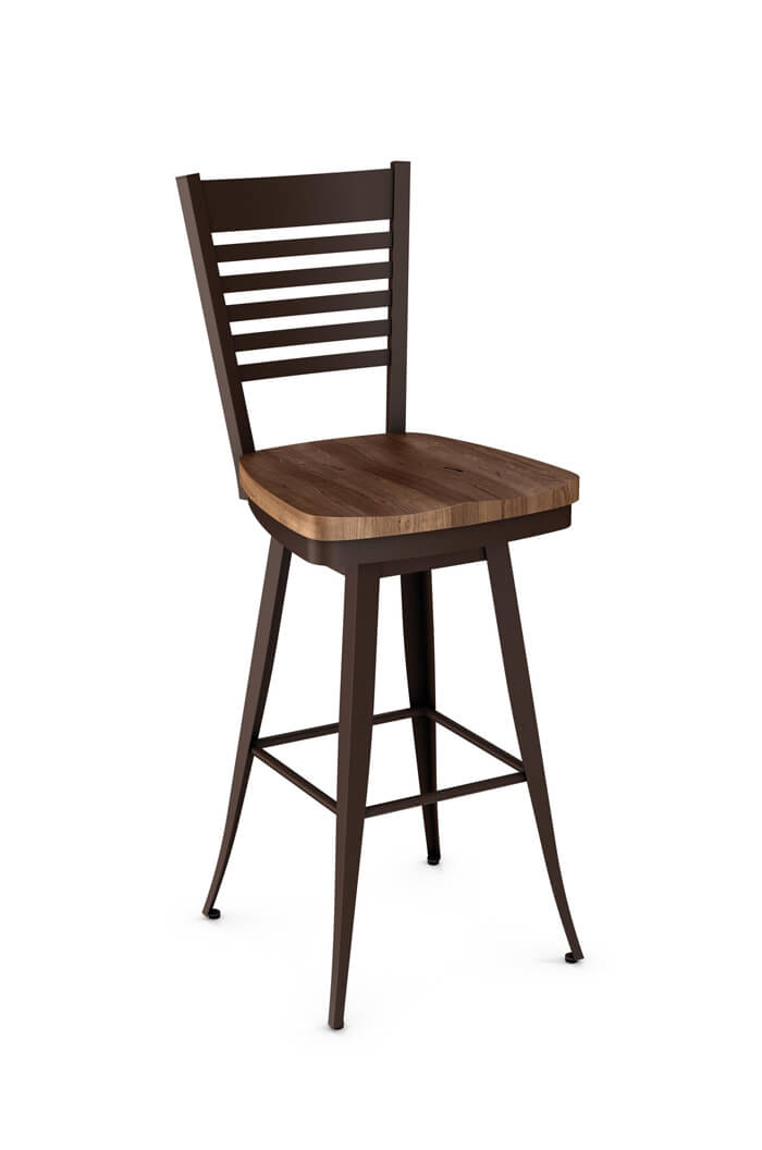 Amiscos Kyle Swivel Counter Stool w Distressed Wood Seat Back
