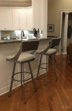 Amisco's Fame Modern Swivel Bar Stools in Transitional White and Gray Kitchen with Hardwood Floors