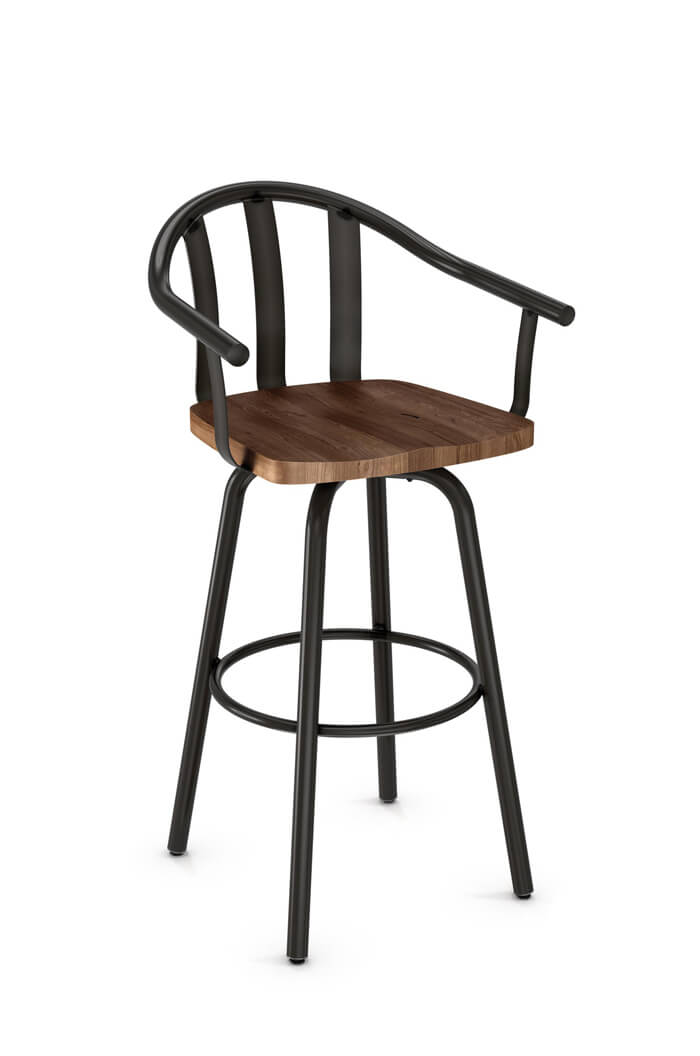 Amisco Gatlin Swivel Stool with Wood Seat and Arms
