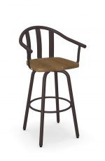 Amisco's Gatlin Metal Swivel Barstool with Arms and Wood Seat