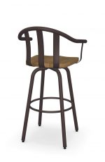 Amisco's Gatlin Metal Swivel Barstool with Arms and Wood Seat - Back View