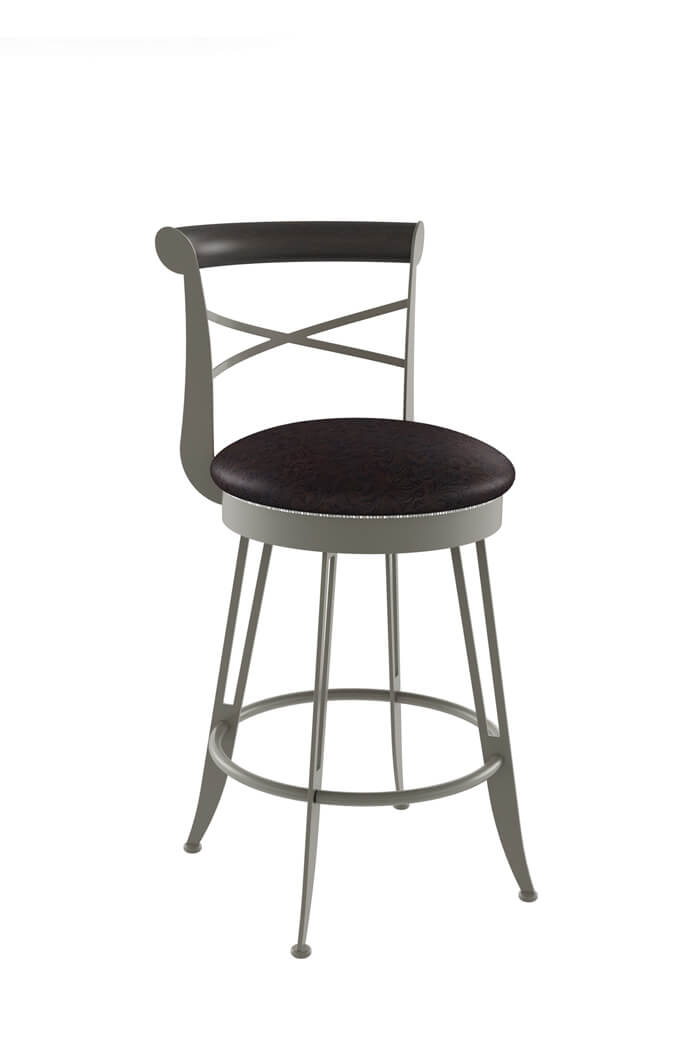 Amisco's Historian Swivel Stool with Cross Back Design