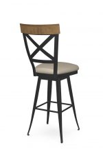 Amisco's Kyle Traditional Swivel Metal Bar Stool with Wood Back, Seat Cushion, and Cross Back Design - View of Back